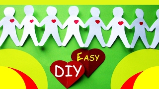 DIY Origami How to Make Paper Chain Garland Boys with Hearts | Оригами ГИРЛЯНДА сплошная из бумаги