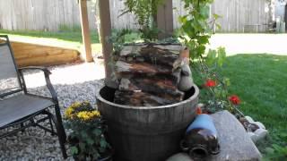 How to make half barrel fountain ideas