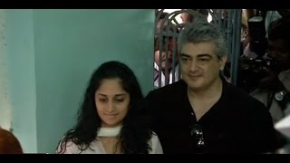 Thala Ajith and Shalini the first one cast their votes | Tamil Nadu Election 2016