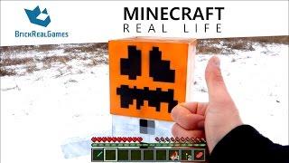 Minecraft Real Life - I made real Snow Golem!!! - BrickRealGames
