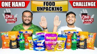 ONE HAND FOOD UNPACKING CHALLENGE | Food Eating Challenge | Food Eating Competition | Food Challenge