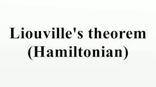 Liouville's theorem (Hamiltonian)
