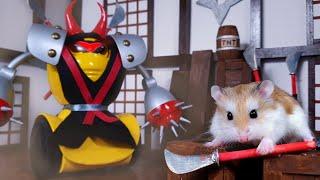 HAMSTER fights NINJA BOSS  MAJOR HAMSTER vs SAMURAI CAT (3/3)