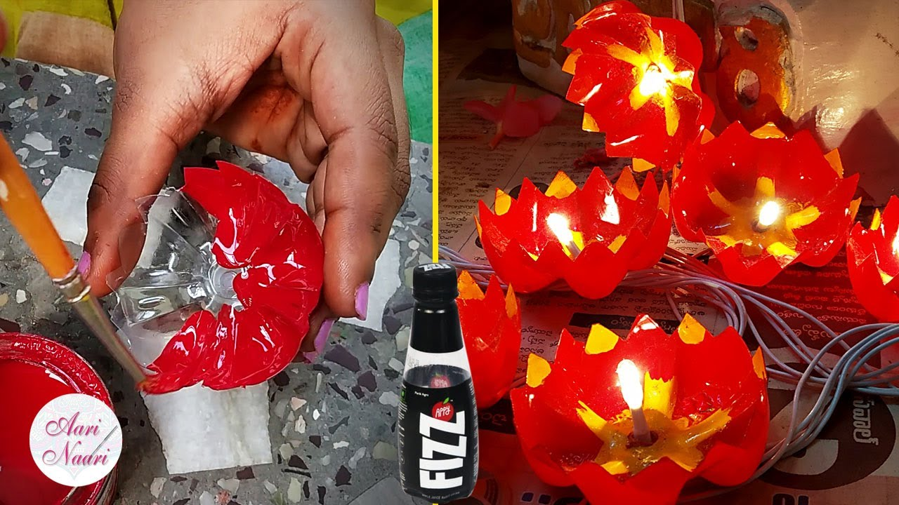 How to make Diya with waste plastic bottle, DIY decorative Diwali diya at home