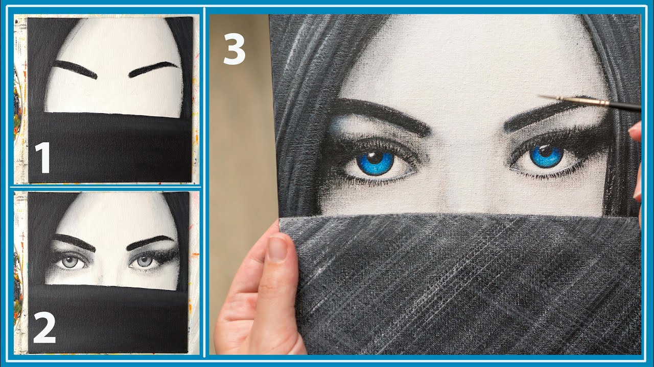 How to draw Girl with blue eyes step by step - Acrylic painting / Homemade Illustration