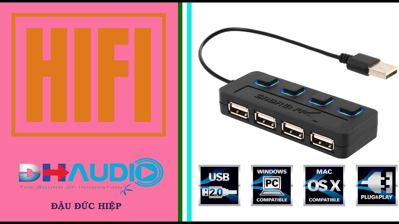 Mở hộp bộ 4 Ports USB 2. 0 Speed HUB (Dành cho laptop-Máy tính bàn)