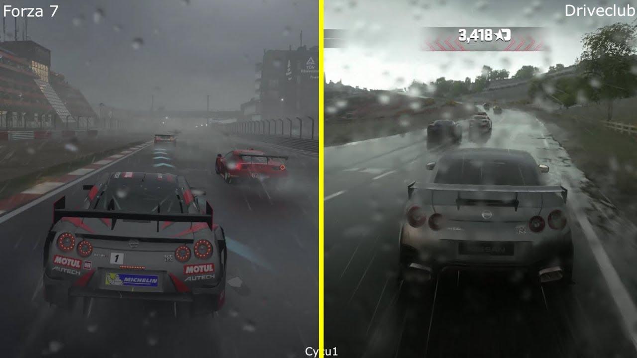 Forza 7 vs Driveclub - Xbox One X vs PS4 Pro Rain Effect 4K Graphics