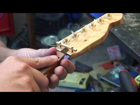 Installing A Brass Guitar Nut: Cut From Scratch.