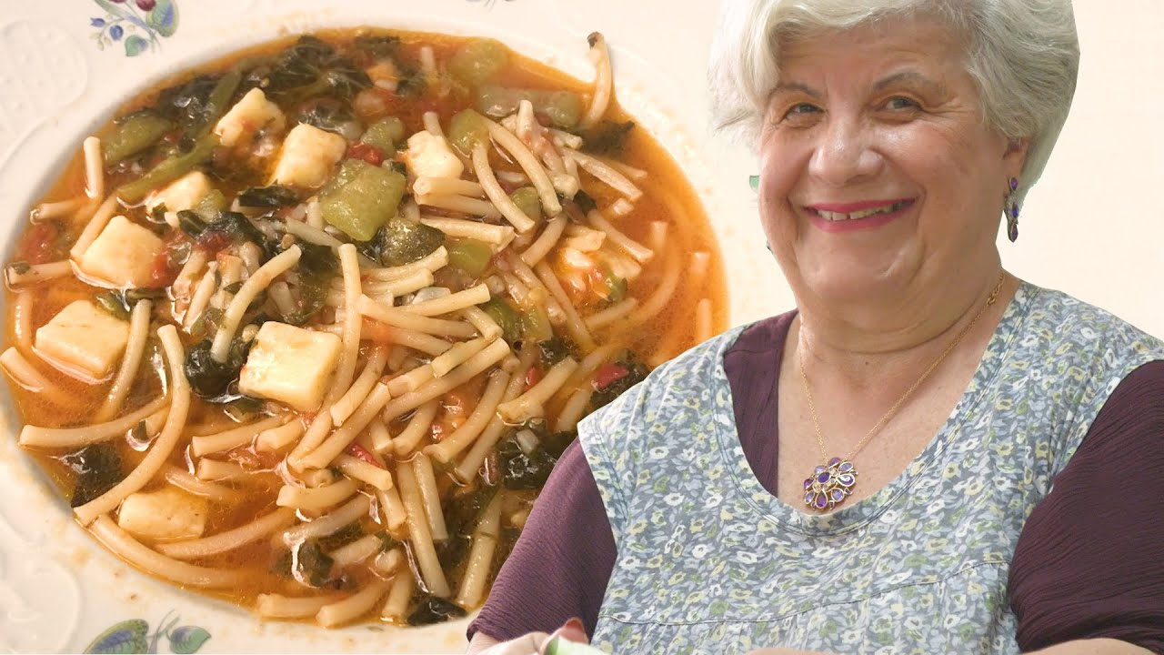 Maria makes a Sicilian bucatini pasta with summer squash 'tenerumi' leaves