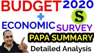 BUDGET ECONOMIC SURVEY papa analysis 2020-21 2019-20 2020 economy gk uppsc upsc ias pcs ssc gs bpsc