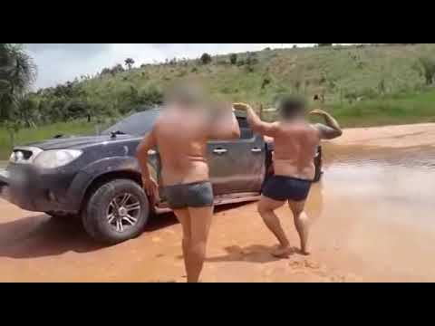 A.D. - That Friday Feeling. 2 Shirtless Guys with Beer Bellies Dancing in the Mud