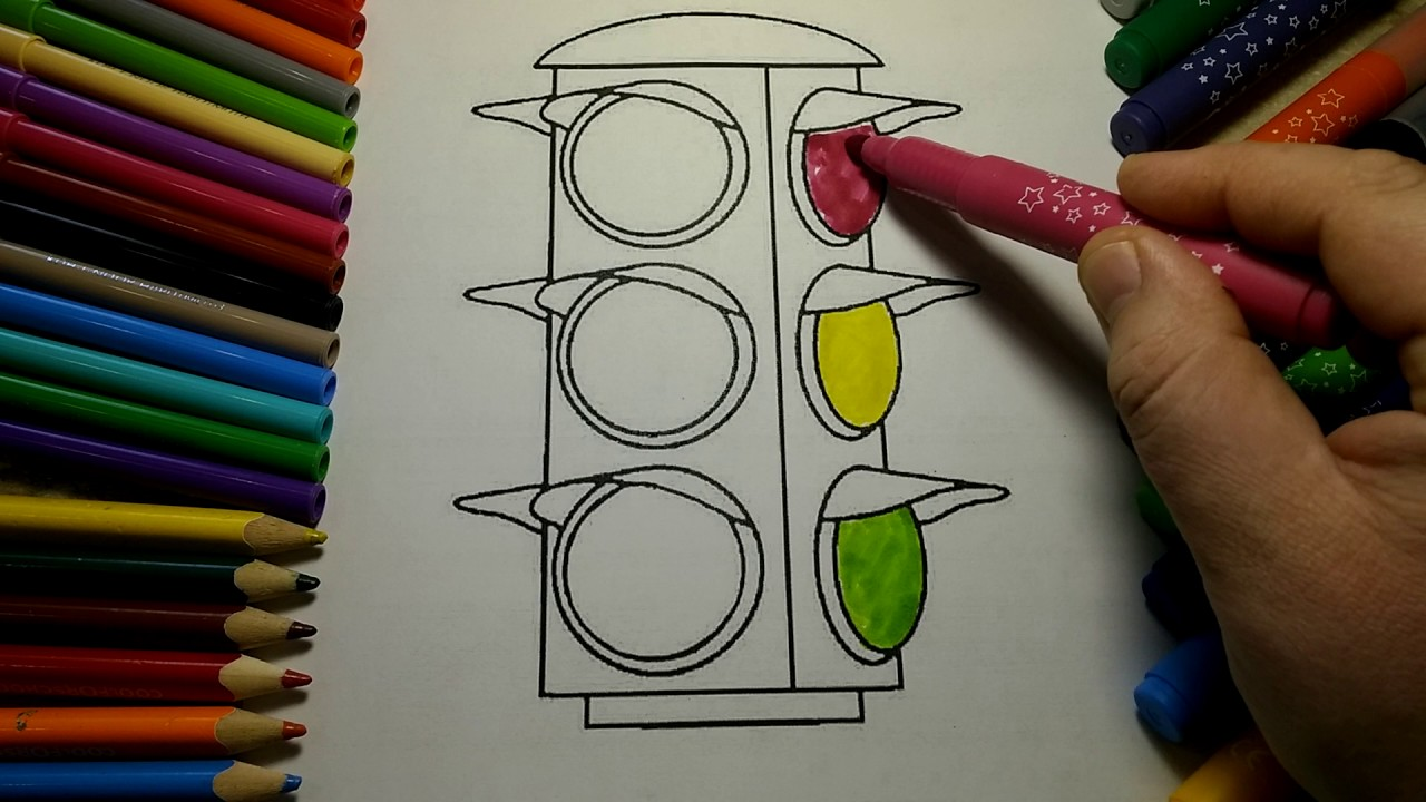 Traffic light  Green Yellow Red coloring for kids learn coloring