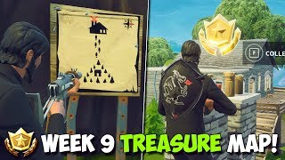 FORTNITE WEEK 9 TREASURE LOCATION! | Follow The Treasure Map Found In MOISTY MIRE