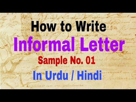 Writing Letter   Informal letter sample -1 in urdu hindi