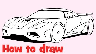 How to draw a car Koenigsegg Agera R step by step supercar drawing