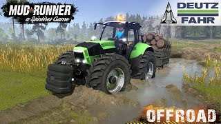 Spintires: MudRunner - DEUTZ FAHR 4X4 Tractor Tows lorry stuck in Swamp