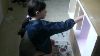 Miss J Is Painting Her Bedside Table That We Made Ourselves!