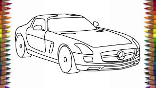 How to draw Mercedes Benz SLS AMG step by step