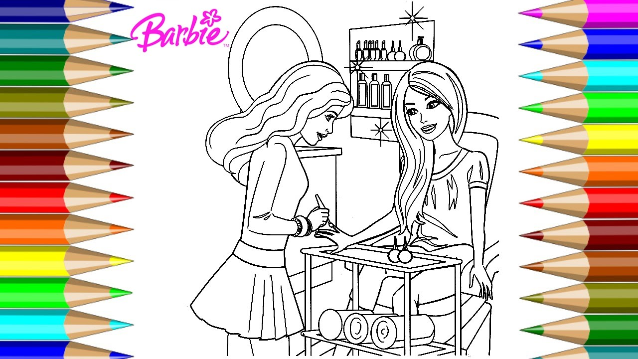 Barbie Coloring Book At The Nail Salon Pages Kids Fun Art Activities Videos For Children