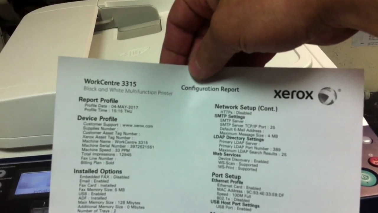 Xerox WC 3315   Configuration report   How to disable