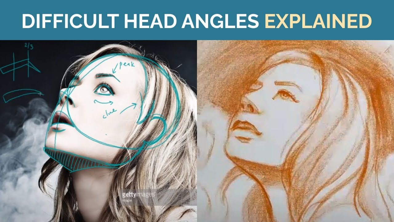 How to Draw Faces in Difficult Angles - Head Structure Drawing Tips with Fei Lu