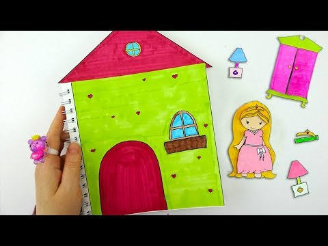 QUIET BOOK FOR PAPER DOLLS 🏠 How to draw bedroom for paper doll