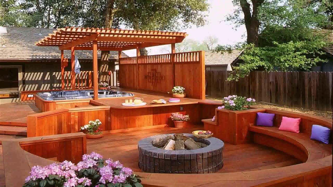 Backyard Fire Pit And Hot Tub Ideas Gif Maker Daddygif