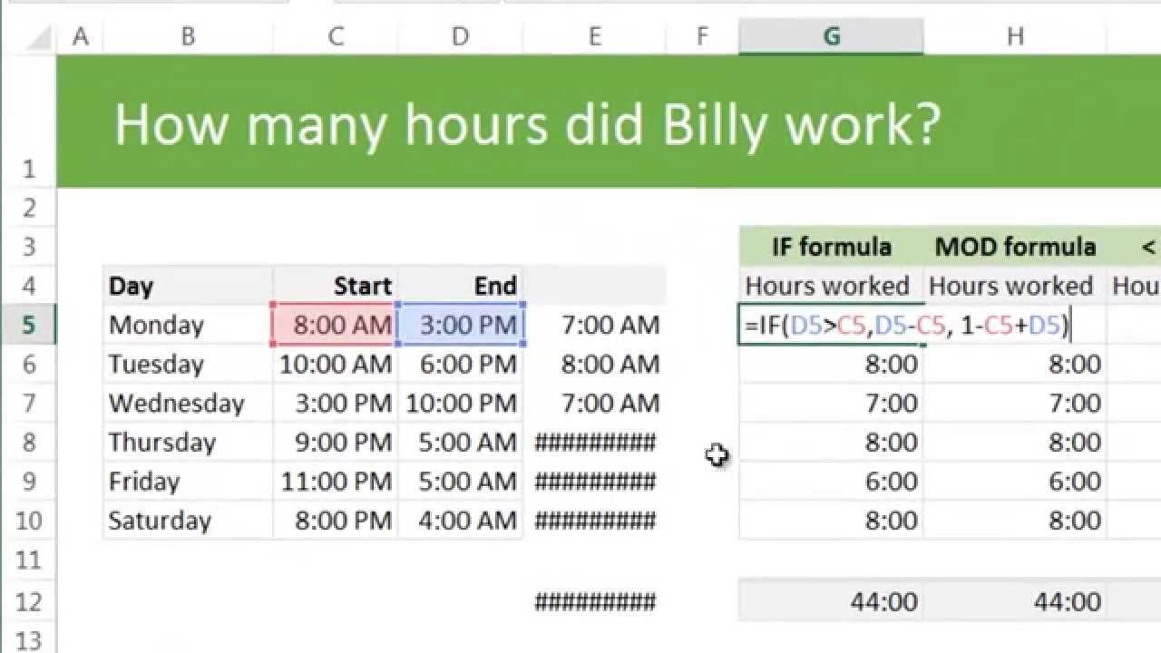 Calculating total working hours using excel example for Template to calculate hours worked