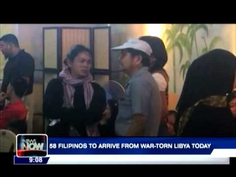 58 Filipinos to arrive from war-torn Libya today