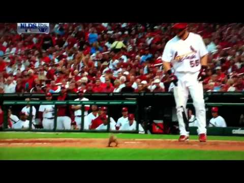 (HD)Funny Squirrel On The Field at Game 4 NLDS 2011 - Phillies vs Cardinals