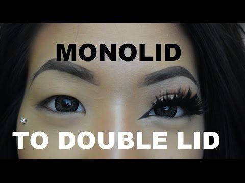 Monolid to double eyelid with fake eyelashes tutorial!