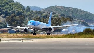 Awesome Boeing 757 landing in VERY STRONG winds