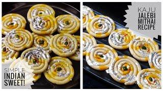 Festive Indian Sweet Kaju Katli Jalebi - त्योहार की मिठाई/ Kaju Jalebi/ Simple Sweet Recipe/ Sweets