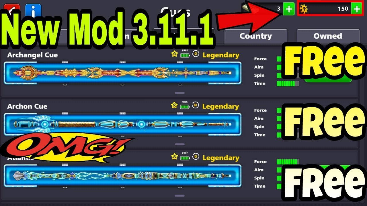 8 Ball Pool | Hack Legendary Cue Mod 3.11.1 | All Cues ...
