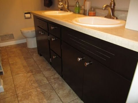 Restaining Bathroom Cabinets - YouTube