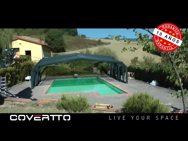 COVERTTO. Instalación de una cubierta de piscina telescópica modelo Italica