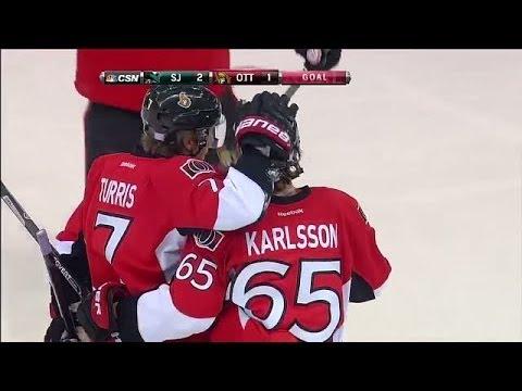 Erik Karlsson blasts goal from blue line