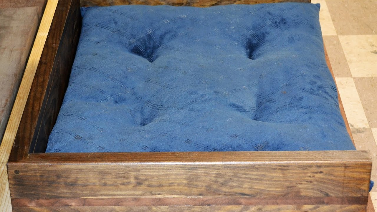 Diy how to make a dog bed easy and cheap build youtube for How to make a cheap bed frame