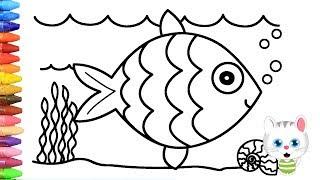 Pagina di colorazione pesce   Come disegnare e colora per i bambini