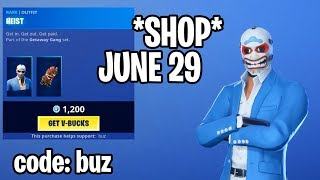*NEW* Item Shop! HEIST SKIN IN SHOP NOW! June 29 Fortnite Daily Update