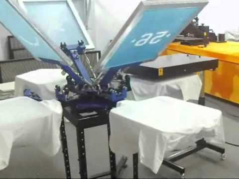 4 Color 4 Station Screen Printing T-shirt Printing Machine Working Video 006026