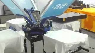 4 color 4 station screen printing t-shirt printing machine working video