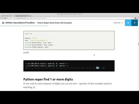 python regex cheat sheet with examples - YouTube