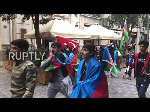 Azerbaijan: Mass celebration in Baku streets after Nagorno-Karabakh agreement reached