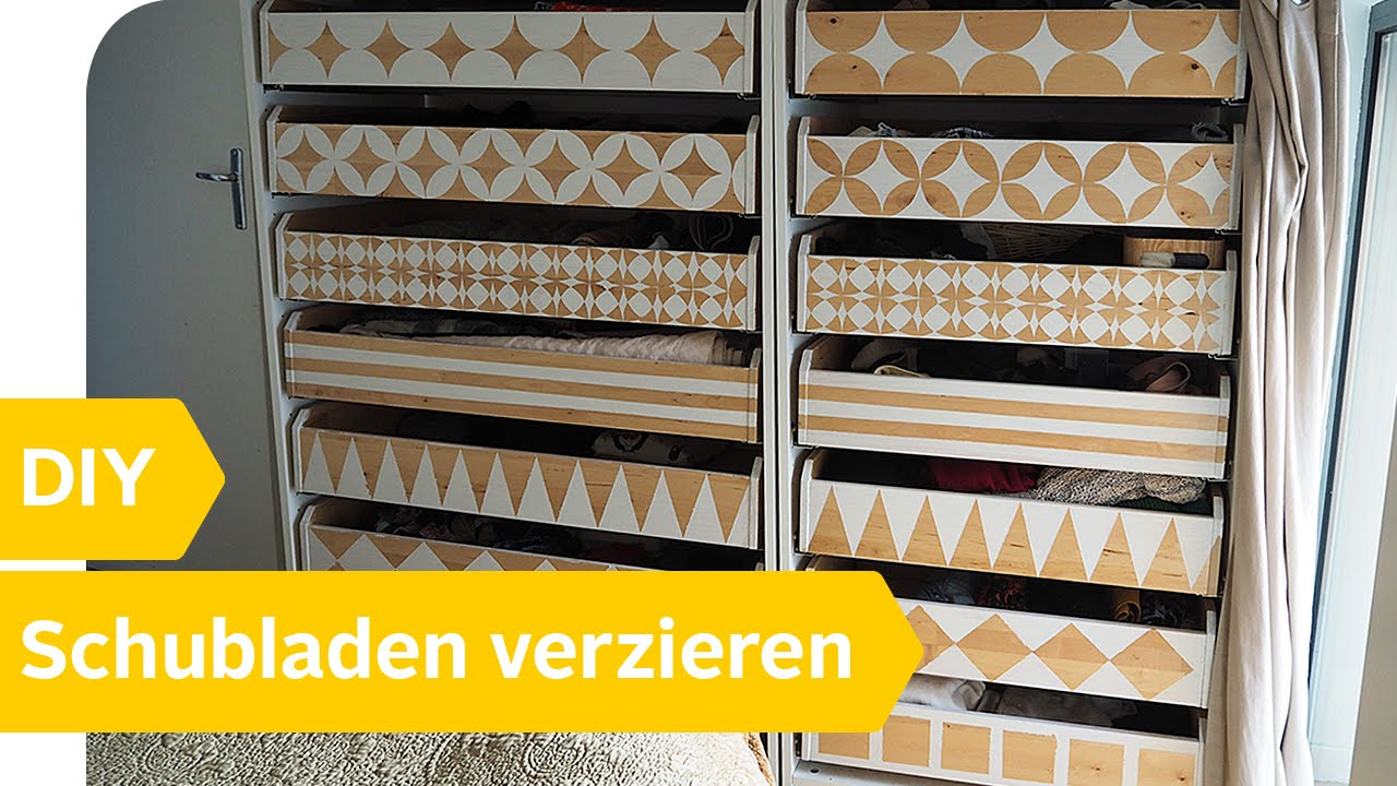diy anleitung schubladen selbst neu gestalten verzieren roombeez powered by otto youtube. Black Bedroom Furniture Sets. Home Design Ideas