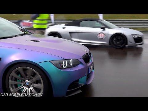 BWM M3 E92 Coupe vs Audi R8 V10 Plus Acceleration & Sound