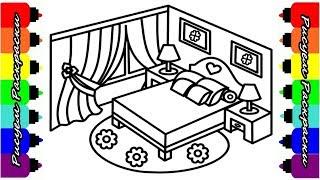 Рисуем СПАЛЬНЮ для детей Раскраска СПАЛЬНЯ Видео для детей//Draw BEDROOM Coloring BEDROOM