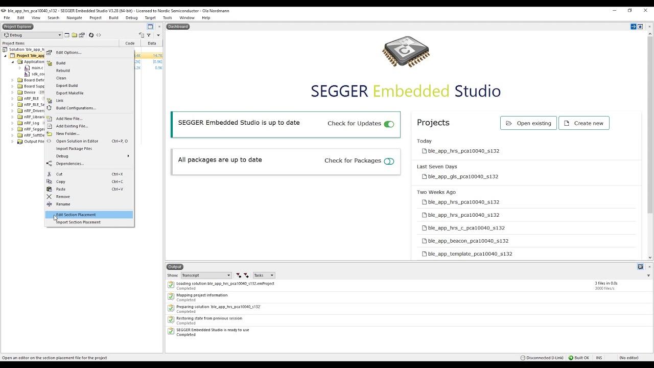 SEGGER Embedded Studio – Build settings