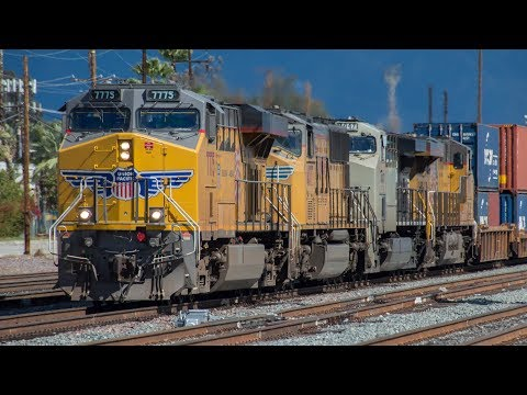 4K - Endless Freight Train Action in the Inland Empire in Early 2018: Heritage and Foreign Power!