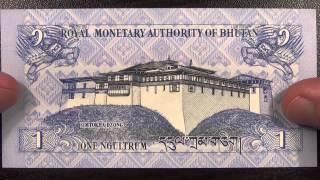 Обзор банкнота БУТАН, 1 нгултрум, 2006 год, драконы, крепость Симтокха дзон, бона, купюра, бонистика
